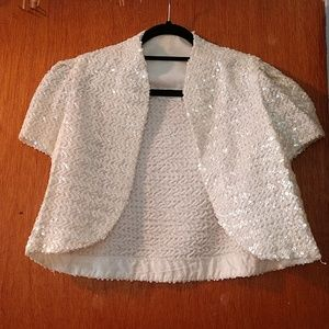 Tops - Vintage white sequence open jacket top